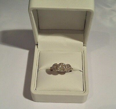 9ct Yellow Gold - Absolutely Stunning Triple Halo Genuine Diamond Ring - Size O