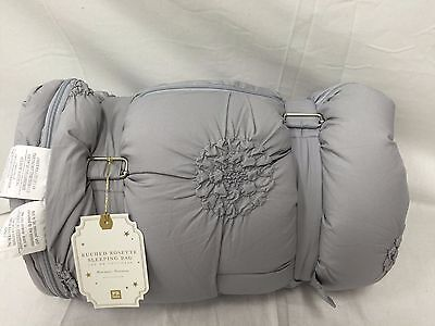 NEW Pottery Barn Teen Ruched Rosette Sleeping Bag~Gray~