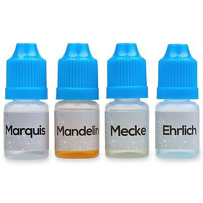 Marquis Mandelin Mecke and Ehrlich Reagent Testing Kit. Four 5ml bottles