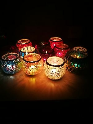 Moroccan Mosaic Glass Candle Holders Tealight Votive Holder Wedding Home Deco