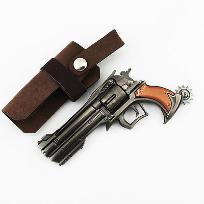 1/4 HOT Blizzard Game OVERWATCH Jesse·Mccree Ninjia GENJI Revolver Magnum gun 褐色