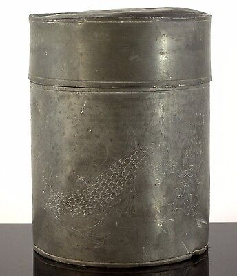 RARE OLDER SHANG HING PEWTER SHOP SWATOW 19th c DRAGON ENGRAVED TEA CADDY BOX