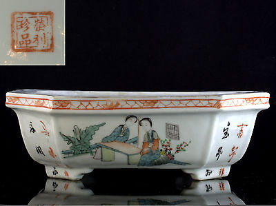 CHINESE QING to REPUBLIC SIGNED PORCELAIN PLANTER POT JARDINIERE w CALLIGRAPHY