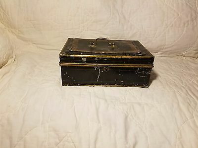 Antique Cash Box Tin Toleware Box Unique Bubble Top