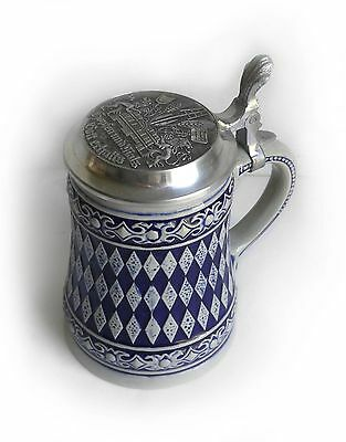 Vintage Gerz Blue Gray Diamond Stoneware W Germany Pewter Lidded Beer Stein