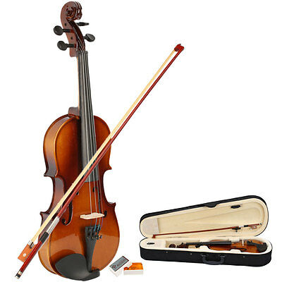 Hot 1/2 Natural Color Acoustic Violin with Case + Bow + Rosin for Beginner