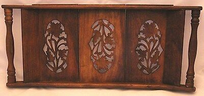 Decorative Vtg 3-Panel Wood Tray of Carved Flowers, Asian/Indian