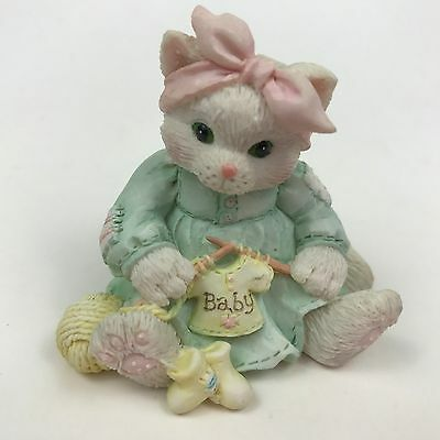Enesco Calico Kittens Hand Knitted With Love Cat Knitting Baby Figurine 626023