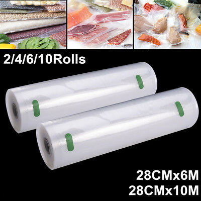 2-10 Roll Vacuum Food Seal Bag Sous Vide Saver Bag 10M/6Mx28cm Commercial Grade