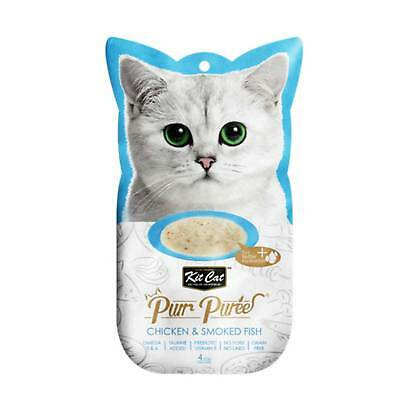 Kit Cat Purr Puree Chicken & Smoked Fish Kitten Cat Treat (4x15g)