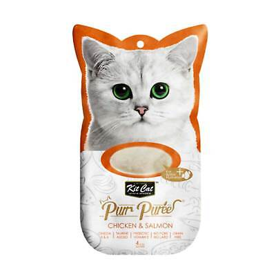 Kit Cat Purr Puree Chicken & Salmon Cat Kitten Treat (4x15g Sachets)