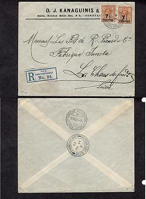 Turkish Empire #59(2), Advertising Kanaguinis & Cia August 14 1922 Registered