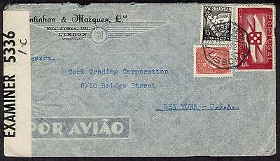 #501,616,C6 April 28 1943 Lisbon, Censored,Commercial Air Mail to USA