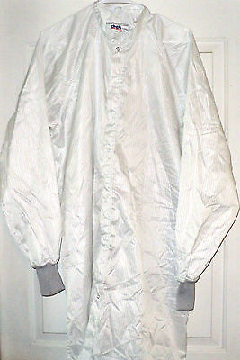 New~Cleanroom Lab Coat/Smock/Frock Polyester/Carbon Stripe Fabric sz LG~~CINTAS