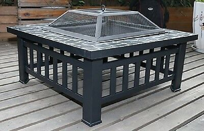 "18"" Square Metal Fire Pit Outdoor Heater stove or BBQ fireplace brazier!"