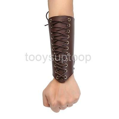 Brown Leather Arm Guard Protector for Traditonal Bow Hunting Shooting