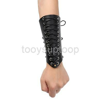 Traditional Archery Arm Guard Hunting Shooting Lace-up Leather Armguard BLA