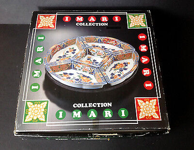 Vtg Japanese IMARI Porcelain 6pc Revolving Lazy Susan Tray 5 Serving Bowls JAPAN
