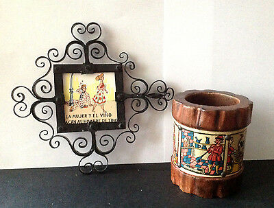Lot 2 Vtg Spain Wood Pencil Cup W/ Handpainted Leather Band & Tile W/metal Frame