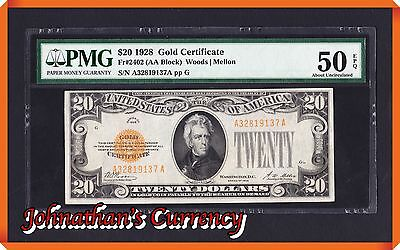 JC&C - Fr.2402 1928 Gold Certificate - About Uncirculated 50 EPQ by PMG