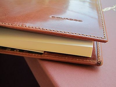 Piquadro Tamponato tan leather soft A4 note-book holder/document folio