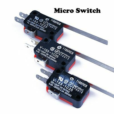 5Pcs DC V-153-1C25 Durable Inching Trigger Long Lever Switch SPDT Micro Limit