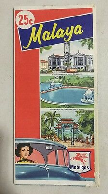 1959 map of Malaya and Singapore by Standard-Vacuum Oil Company Mobil pegasus