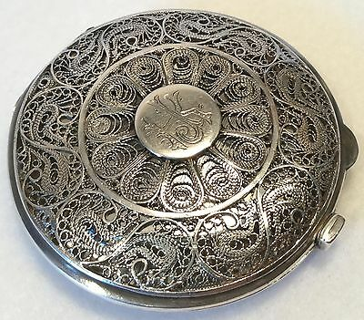 c.19th c. Handcrafted Persian Sterling Silver Filigree & Niello Compact
