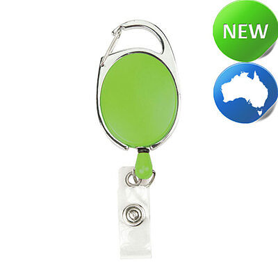 Retractable Office ID Card Badge Reel C/Clip GREEN (Carabiner Style Clip)
