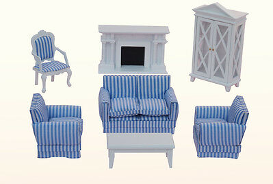 Wooden White Living Room Doll House Furniture Set