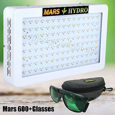 Mars 600W LED Grow Light for Indoor Plant Veg Flower+Led Glasses Eye-Protective