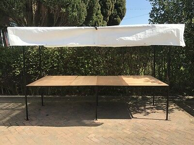 Boot/Market Stall Frame 10' x 3'  complete with boards -covers -clips  Ex. Cond