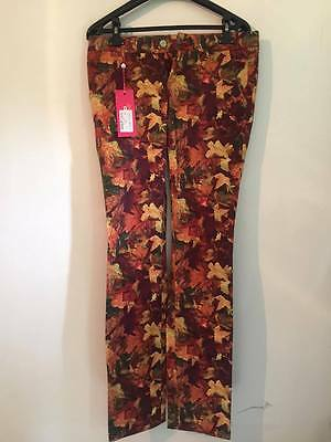 NEW Womens ALBERTO GOLF USA Golf Pants Brown Trousers Autumn Leaves Size 36