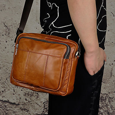 "Men Oil Wax Leather 9"" Satchel Messenger Tablet School Work Business Sling Bag"
