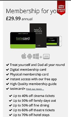 Tastecard Discount card 1 year  membership  voucher code