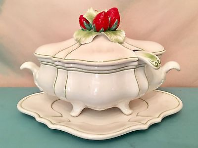 Large Meiselman Imports Soup Tureen Strawberry Strawberries Green Italy Majolica