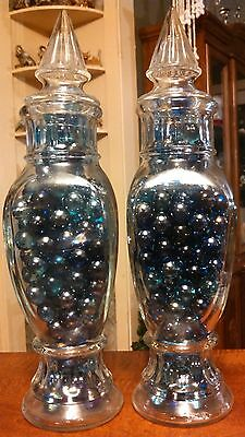 """ANTIQUE GLASS APOTHECARY JARS 13"""" Drugstore Candy Display - Medical Canister (2)"""
