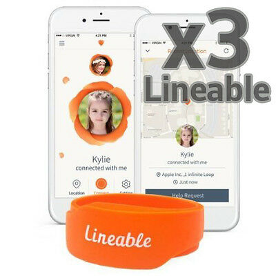 3 x Lineable Smart Wrist Band Tracker Locator for Kids Protection & Safety