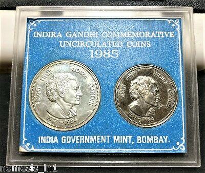 India Republic 1985 Coin UNC Mint Set! With 100 Rupees Silver! Indira Gandhi Ji!