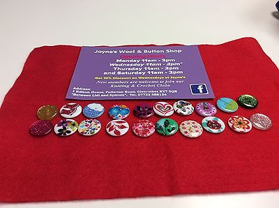 20x Mixed Resin Patterned 20mm Buttons - Crafting - Knitting - Crochet