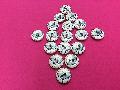 6x Blue Butterfly Wooden Button 20mm - for knitting, crocheting or Crafts