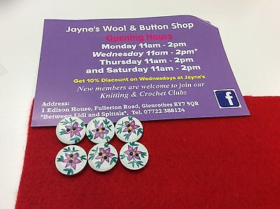 6x Purple Flower on White 18mm Wooden Buttons - crafting, knitting, crochet.