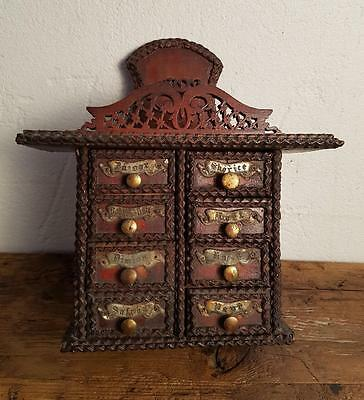 Antique folk art tramp spices wooden cabinet box (s18079)