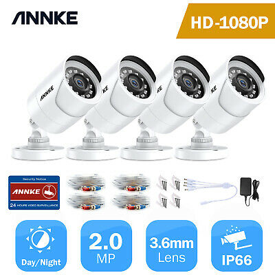 ANNKE 4x1080P HD-TVI In/Outdoor Security Camera IR Night Vision 2MP Video Bullet