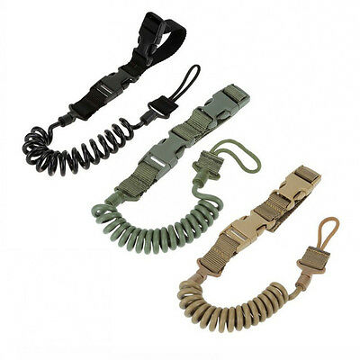 Outdoor Adjustable Safety Rope Tactical Military Elastic Lanyard Shoulder Strap