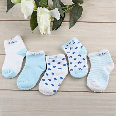 5 Pairs Baby Cotton Moon Stars Printed Socks for Baby Toddler Kids Children Sale