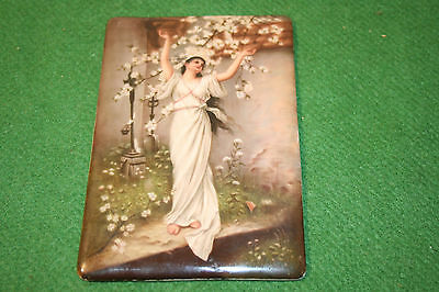Antique tile with Pre Raphaelite hand painting of Hope.  Gorgeous.