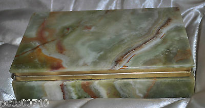 Vintage 70  Italian Onyx Trinket /Jewellery Box With Brass CIGGARETTE BOX