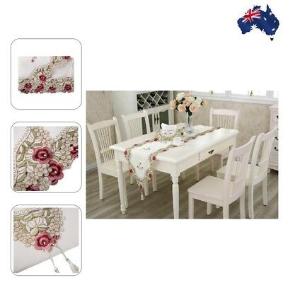 Embroidery Flower Tablecloth Doily Wedding Dinning Table Runner Cloth Cover