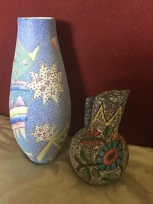 Italian Mid 20th Century Textured Jug & a Superb Abstract Vase Probably Italian